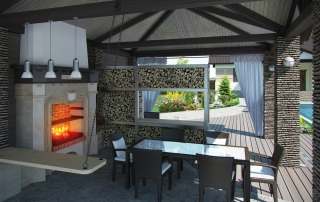View inside a modern outdoor kitchen with roof and wood fired oven.
